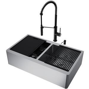 en-CA Oxford Flat Stainless Steel Double Sink 36-in - Matte Black Livingston Faucet - Soap dispenser