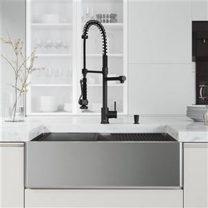 VIGO Oxford Flat Stainless Steel 33-in Sink - Black Zurich Faucet with Soap Dispenser