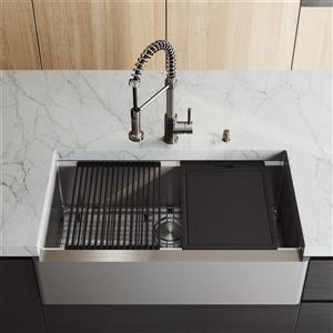 """en-CA 36"""" Oxford Flat Stainless Steel Sink with Edison Faucet"""