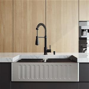 en-CA Oxford Slotted Stainless Steel Double 33-in Sink - Black Brant Faucet - Soap Dispenser