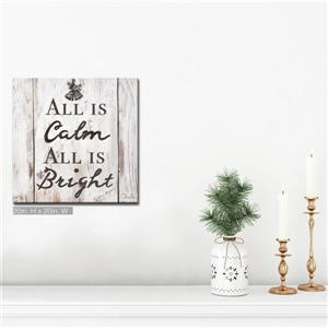Ready2HangArt Wall Art Christmas Silent Night Canvas 20-in x 20-in- Brown