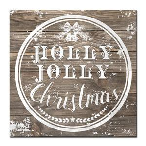 Ready2HangArt Wall Art Christmas Holly Jolly Canvas 12-in x 12-in - Brown