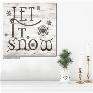 Ready2HangArt Wall Art Christmas Let It Snow Canvas 30-in x 30-in - Brown