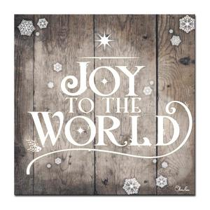 Ready2HangArt Wall Art Christmas Joy to World Canvas 20-in x 20-in- Brown