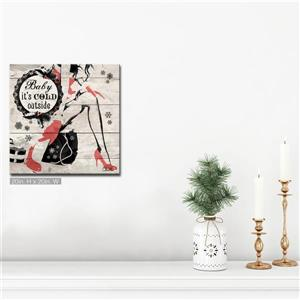 Ready2HangArt Wall Art Baby it's Cold Outside Canvas 20-in x 20-in- Brown