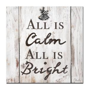 Ready2HangArt Wall Art Christmas Silent Night Canvas 12-in x 12-in- Brown