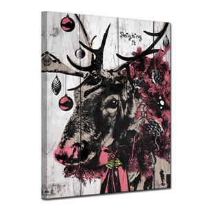 Ready2HangArt Wall Art Christmas Reindeer Canvas 20-in x 30-in - Brown