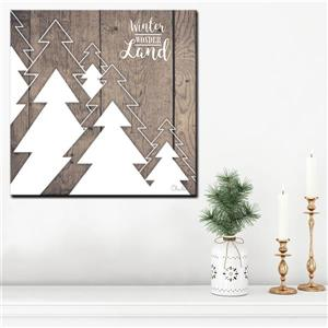 Ready2HangArt Wall Art Christmas Many Trees Canvas 12-in x 12-in - Brown
