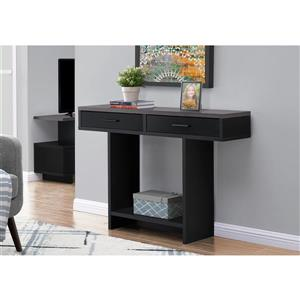 Monarch Console Table with Drawers - Black/Grey Top - 48-in