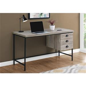 "Monarch Computer Desk - Taupe Reclaimed Wood and Black Metal- 55""L"