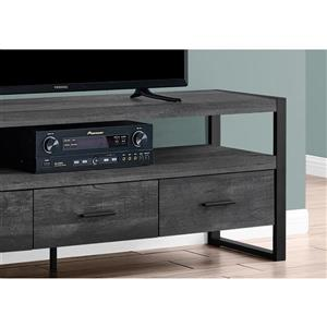 Monarch TV Stand - 3 Drawers - Black Reclaimed Wood Look - 60-in