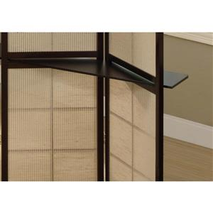 Monarch Folding Screen with 2 Display Shelves - 4 Panel - Cappuccino - 59-in