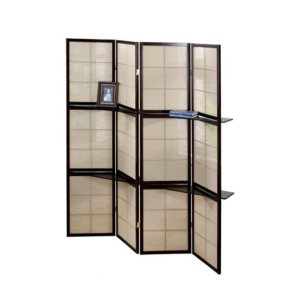 4 Panel Folding Room Divider Screen Panel Privacy Screens With 2 Display Shelves