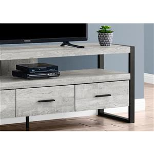 Monarch TV Stand 3 Drawers -  Grey Reclaimed Wood Look -  60-in
