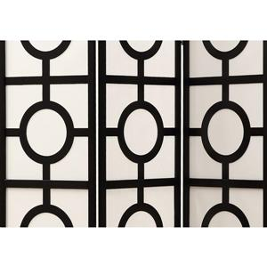 Monarch Folding Screen - 3 Panel - Black Frame Circle Design - 52-in