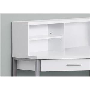 Monarch Corner Computer Desk - White and Silver Metal - 48-in