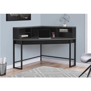 Monarch Corner Computer Desk - Black and Grey Top - 48-in