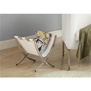 Monarch Magazine Rack - White Leather-Look/Chrome Metal - 15-in
