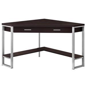 Monarch Corner Computer Desk - Cappuccino and Silver Metal - 42-in