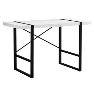 Monarch Computer Desk - White Reclaimed Wood and Black Metal - 48-in