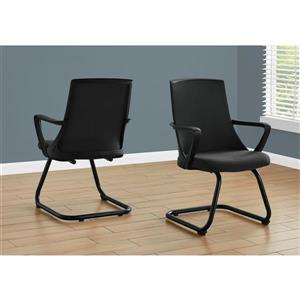 Monarch Office or Guest Chair - Mid-Back - Black - 2pcs