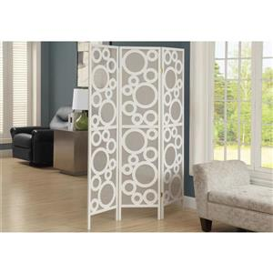 Monarch Folding Screen - 3 Panel - White Frame Bubble Design - 52-in