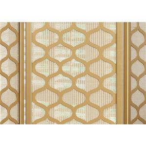 Monarch Folding Screen - 3 Panel - Gold Frame Lantern Design