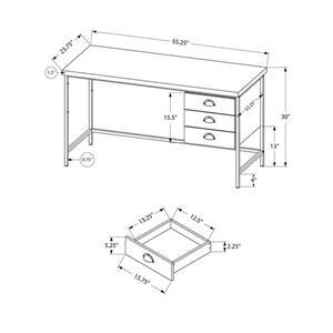 "Monarch Computer Desk - Grey Reclaimed Wood and Black Metal- 55""L"
