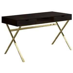 Monarch Computer Desk - Cappuccino and Gold Metal - 48-in