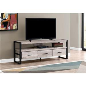 Monarch TV Stand with 3 Drawers, Taupe Reclaimen Wood look - 60-in