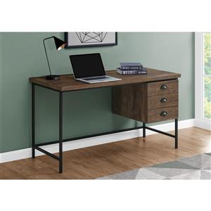 "Monarch Computer Desk - Brown Reclaimed Wood and Black Metal- 55""L"