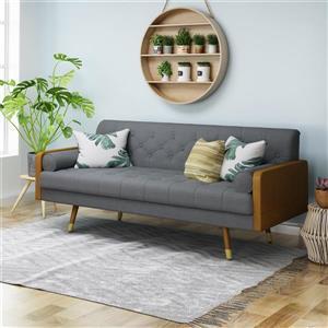 Best Selling Home Decor Jalon Mid Century Modern Tufted Sofa - Fabric - Grey