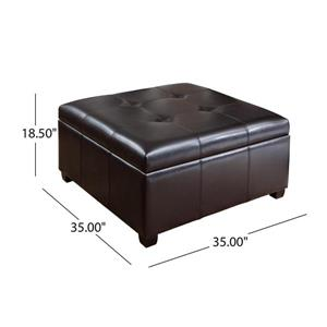 Best Selling Home Decor Cytheria Leather Storage Ottoman - Brown