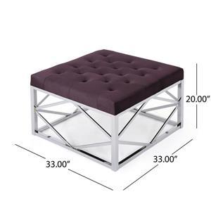 Best Selling Home Decor Teresa Modern Glam Ottoman - Purple Velvet