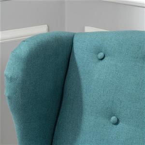 Best Selling Home Decor Bunny Tufted Wingback Loveseat - Fabric - Teal