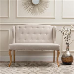 Best Selling Home Decor Wingback Loveseat - Fabric - Off-White/Beige