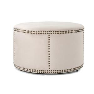 Best Selling Home Decor Josh Ottoman - Off-white Velvet