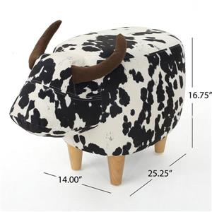 Best Selling Home Decor Bell Cow Ottoman - White and Brown Velvet