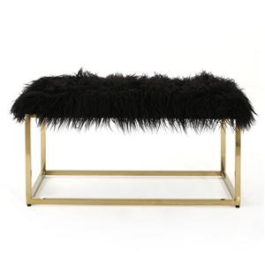 Best Selling Home Decor Molly Faux Fur Ottoman - Black
