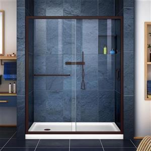 DreamLine Infinity-Z Alcove Shower Kit - 32-in x 60-in - Left Drain - Bronze