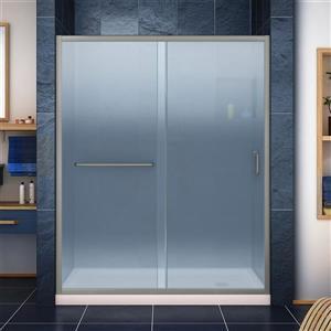 DreamLine Infinity-Z Alcove Shower Kit - 36-in - Right Drain - Nickel