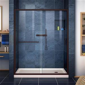 DreamLine Infinity-Z Alcove Shower Kit - 32-in - Right Drain - Bronze