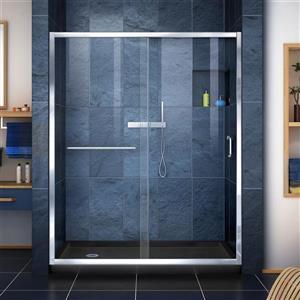 DreamLine Infinity-Z Alcove Shower Kit - 32-in x 60-in - Left Drain - Chrome