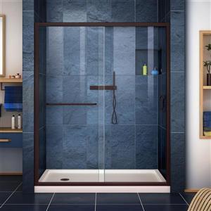 DreamLine Infinity-Z Alcove Shower Kit - 32-in- Left Drain - Dark Bronze