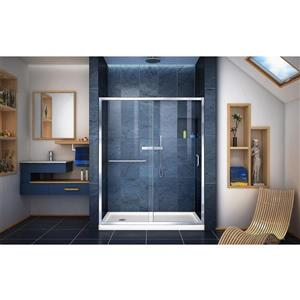 DreamLine Infinity-Z Alcove Shower Kit - 34-in x 60-in - Glass Panels - Chrome