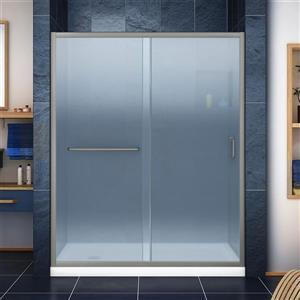 DreamLine Infinity-Z Alcove Shower Kit - 34-in - Left Drain - Nickel