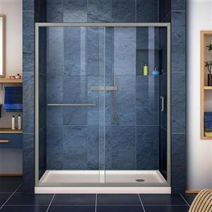 DreamLine Infinity-Z Alcove Shower Kit - 36-in x 60-in - Right Drain - Nickel