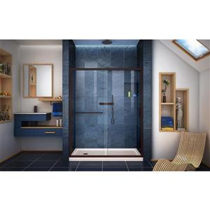 DreamLine Infinity-Z Alcove Shower Kit - 30-in x 60-in - Left Drain - Bronze