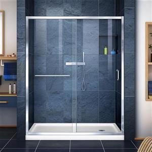 DreamLine Infinity-Z Alcove Shower Kit - 34-in x 60-in - Acrylic Base - Chrome