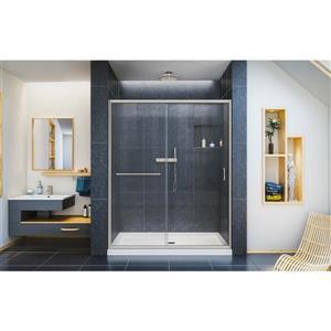 DreamLine Infinity-Z Alcove Shower Kit - 34-in x 60-in - Glass Door - Nickel